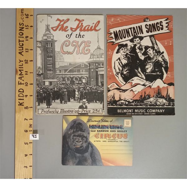 LOT OF 3 - MOUNTAIN SONGS, THE TRAIL OF THE CNE, RINGLING BROS POSTCARD ALBUM