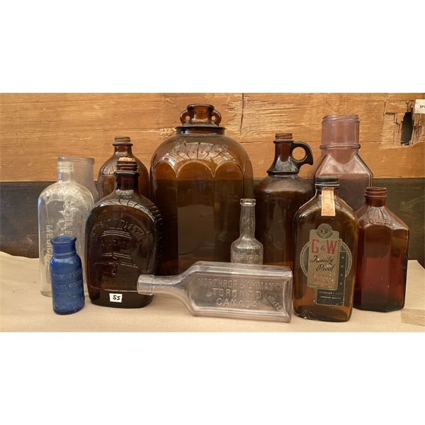 LOT OF 11 GLASS BOTTLES
