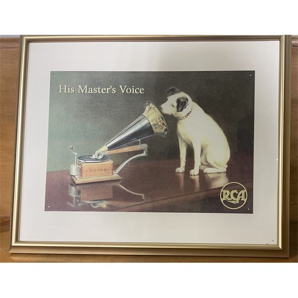 FRAMED TIN SIGN - RCA - HIS MASTER'S VOICE