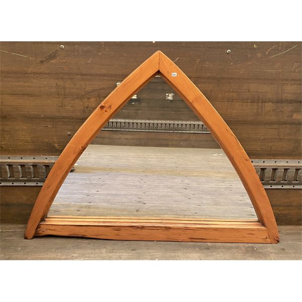LARGE ANTIQUE PINE MIRROR IN CATHEDRAL ARCH DESIGN