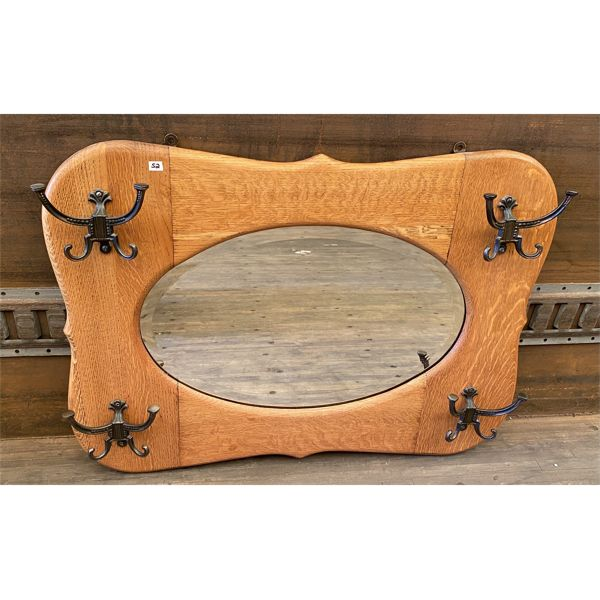 ANTIQUE OAK ENTRANCE MIRROR WITH HAT HOOKS