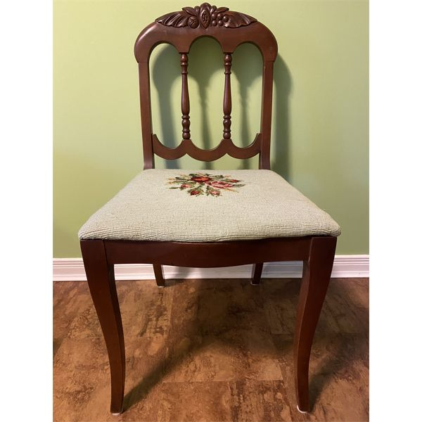 ANTIQUE MAHOGANY OCCASIONAL CHAIR WITH FINE DETAIL & TAPESTRY COVER