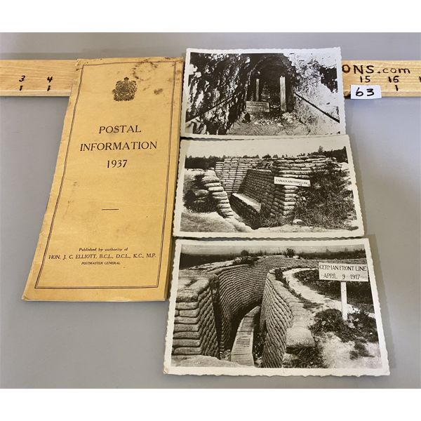 1937 POSTAL BROCHURE & 3 X WWI POSTCARDS