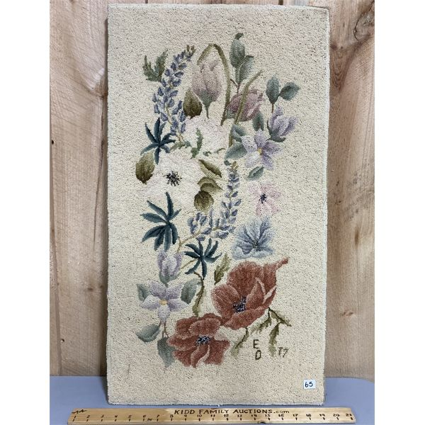 16 X 30 INCH VINTAGE HOOKED WALL ART