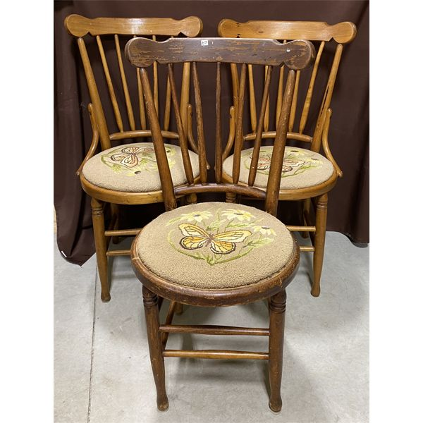 LOT OF 3 ANTIQUE CHAIRS WITH HOOKED SEATS