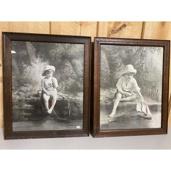 LOT OF 2 FRAMED ANTIQUE PHOTO ART PIECES - 17 X 21 INCHES
