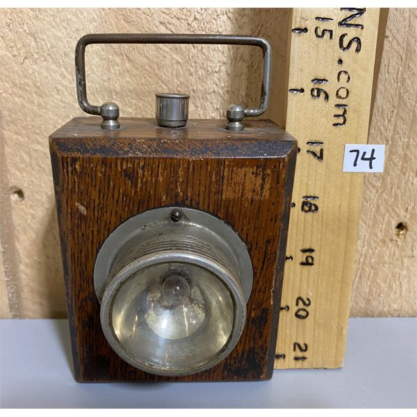 ANTIQUE OAK WATCHMAN'S SAFETY LIGHT