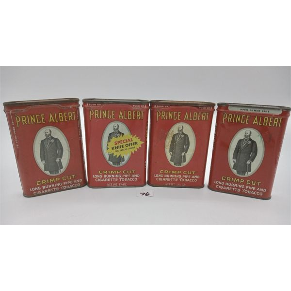 LOT OF 4 PRINCE ALBERT POCKET TOBACCO TINS