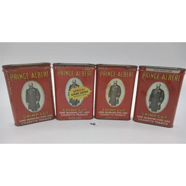 LOT OF 4 PRINCE ALBERT POCKET TOBACCO TINS