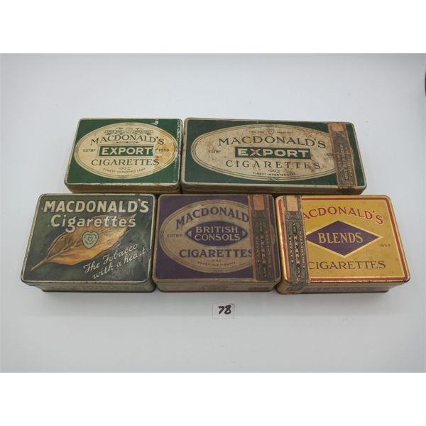 LOT OF 5 MACDONALDS CIGARETTE TINS