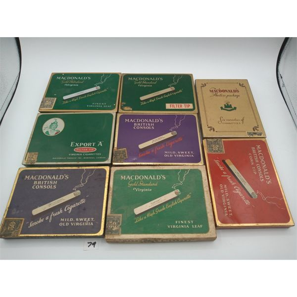 LOT OF 8 MACDONALDS FLAT FIFTY CIGARETTE TINS/BOXES