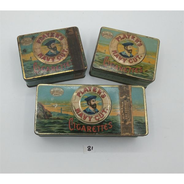 LOT OF 3 PLAYERS NAVY CUT CIGARETTE TINS