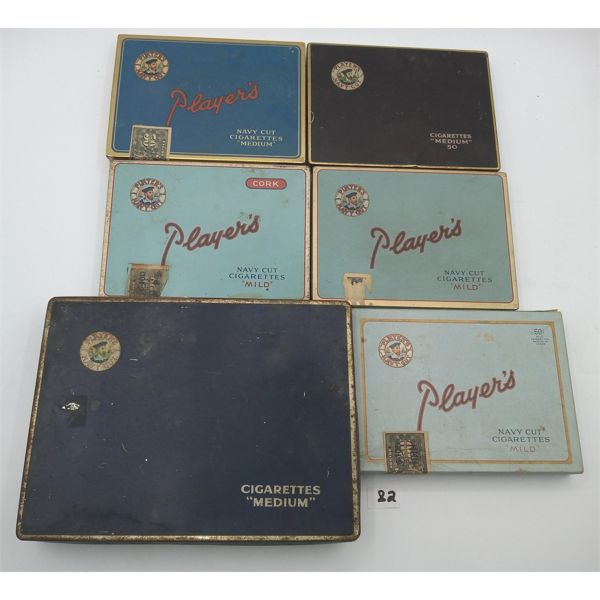 LOT OF 6 PLAYERS CIGARETTE TINS/BOXES