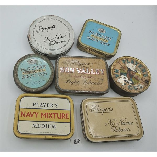 LOT OF 7 PLAYERS TOBACCO TINS