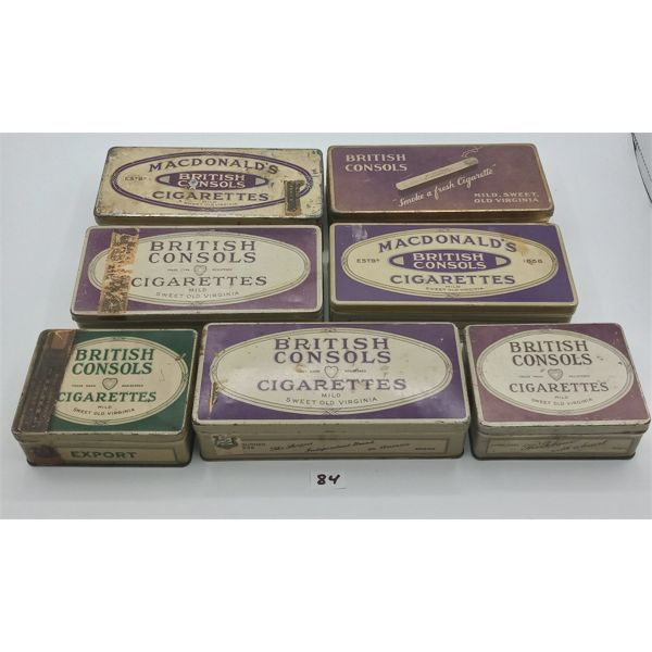 LOT OF 7 BRITISH CONSOLS CIGARETTE TINS