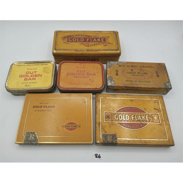 LOT OF 6 GOLD FLAKE TOBACCO TINS