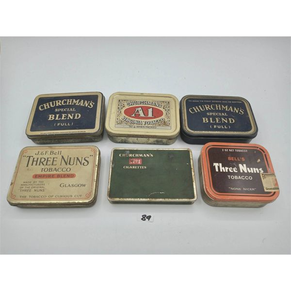 LOT OF 6 TOBACCO TINS
