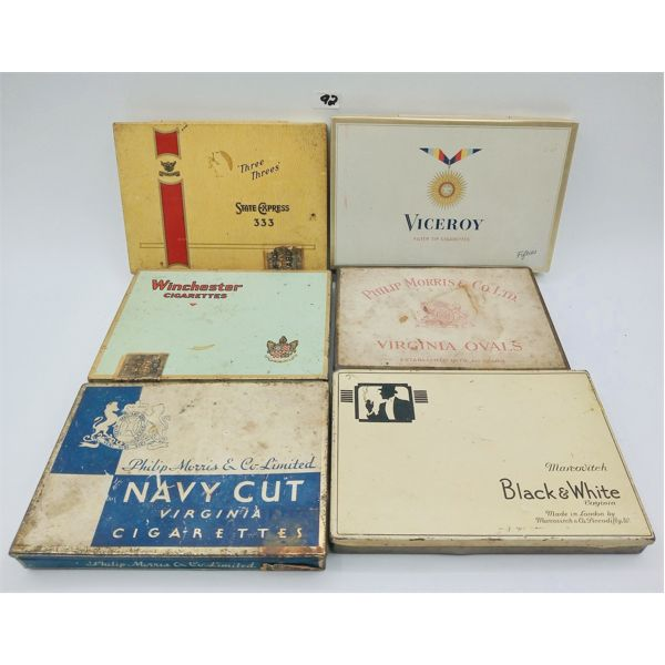 LOT OF 6 FLAT FIFTY CIGARETTE TINS