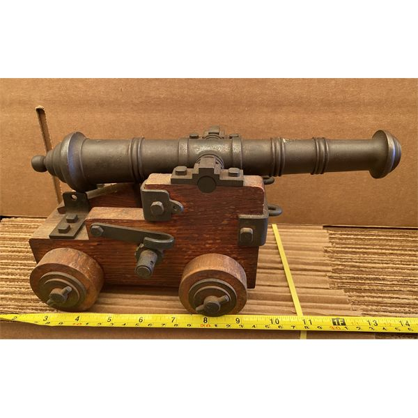 "CAST & WOOD CANNON - APPROX 12"" IN LENGTH"