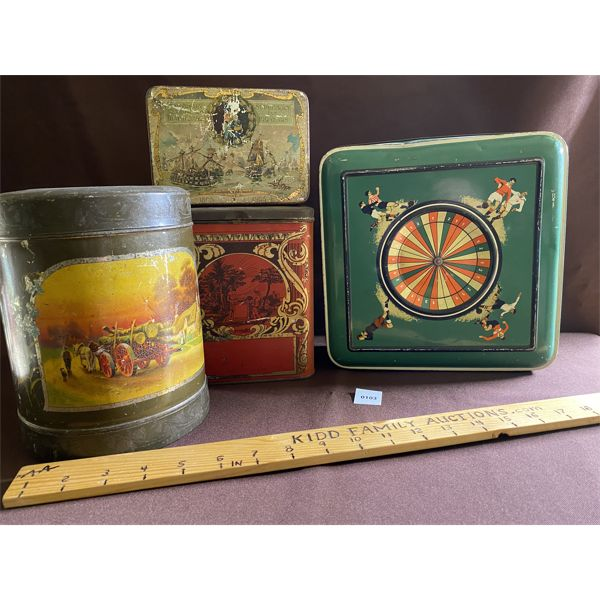 LOT OF 4 COLLECTIBLE TINS WITH GREAT GRAPHICS