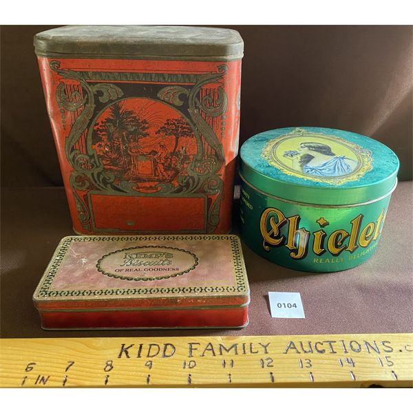 COLLECTION OF VINTAGE TINS INCLUDING CHICLETS