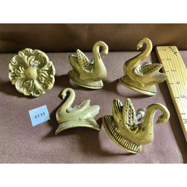 LOT OF 5 BRASS DRAWER PULLS