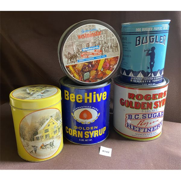 LOT OF 5 COLLECTIBLE TINS - ROGERS GOLDEN SYRUP, BUGLER TOBACCO, ETS