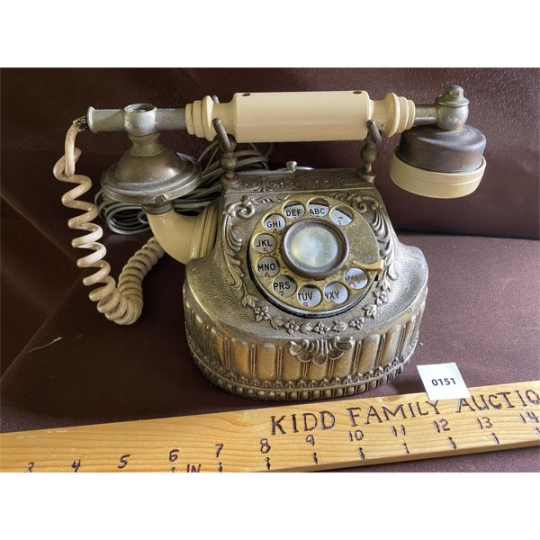 ANTIQUE LOOK BRASS & BAKELITE PRINCESS PHONE - WIRED