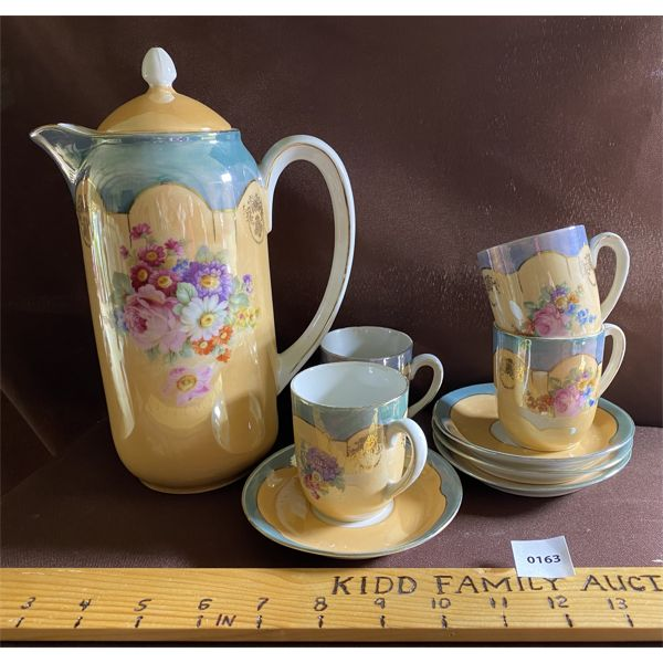 VINTAGE OPALESENCE CHOCOLATE POT W/ 4 CUPS & SAUCERS