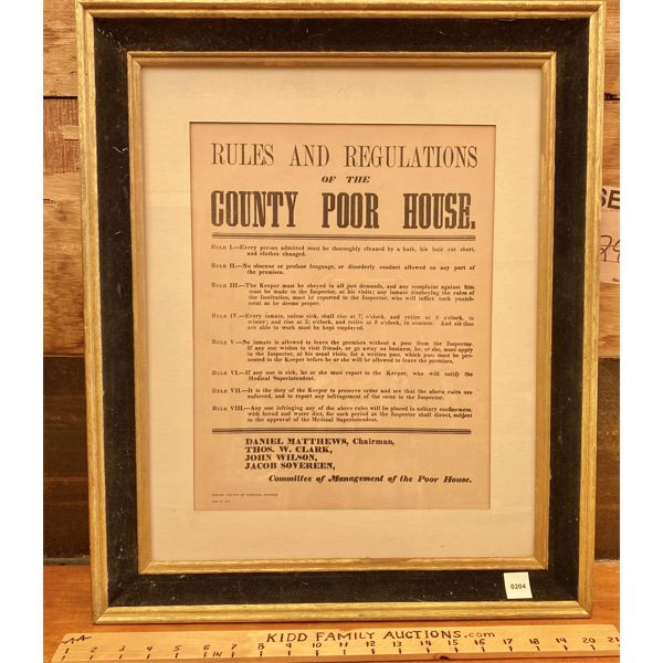 FRAMED 'RULES OF THE COUNTY POOR HOUSE' - 1871