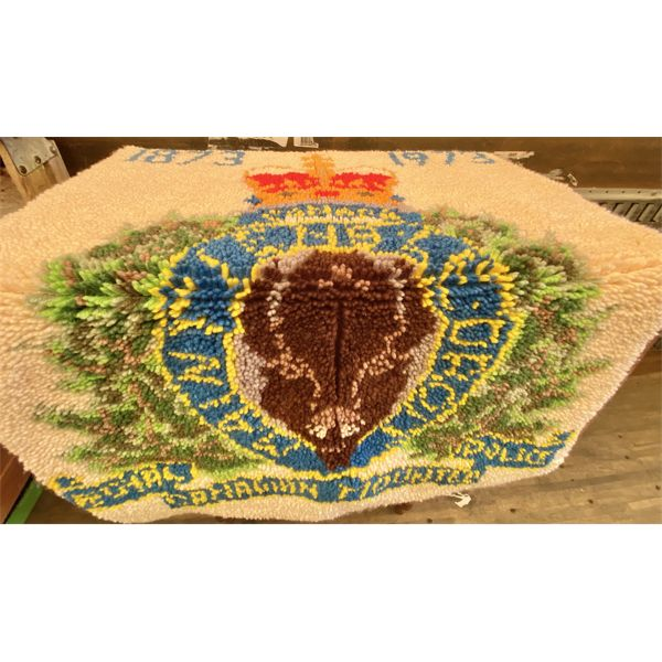 FOLK ART - HOOKED RUG - RCMP 1873 TO 1973