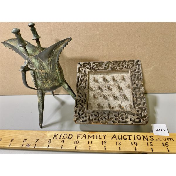 LOT OF AFRICAN HANDCRAFTED COLLECTIBLES - FORGED URN & PRESS