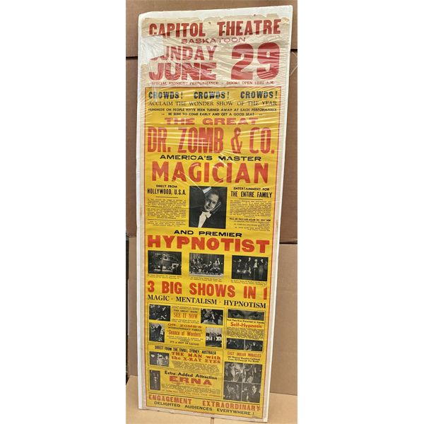 VINTAGE 'DR ZOMB' MAGIC SHOW POSTER