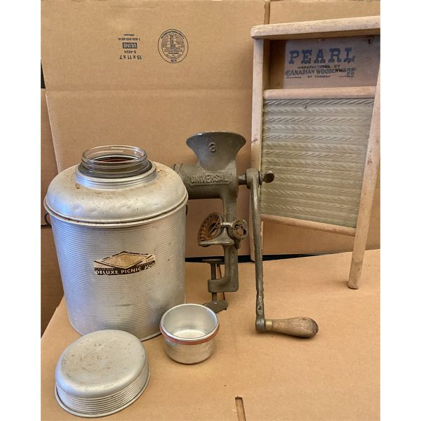 VINTAGE DELUX PICNIC THERMOS, WASHBOARD AND MEAT GRINDER W/ ATTACHMENTS