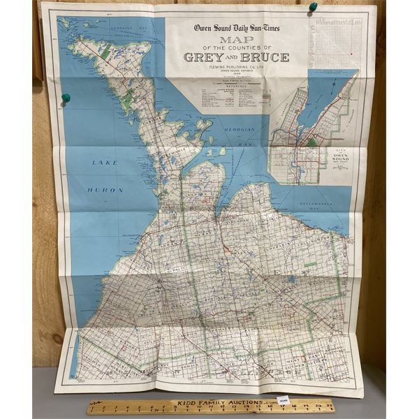 1949 MAP OF GREY BRUCE COUNTIES - PAPER