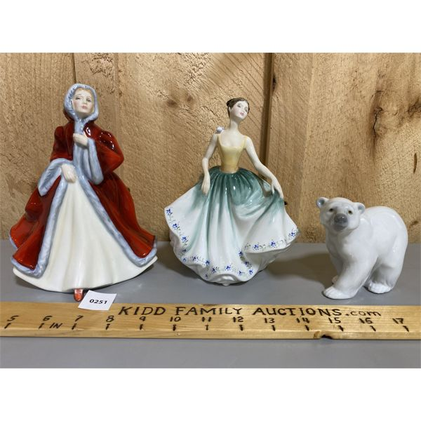 LOT 0F 3 - ROYAL DOULTON FIGURINES & LLADRO POLAR BEAR