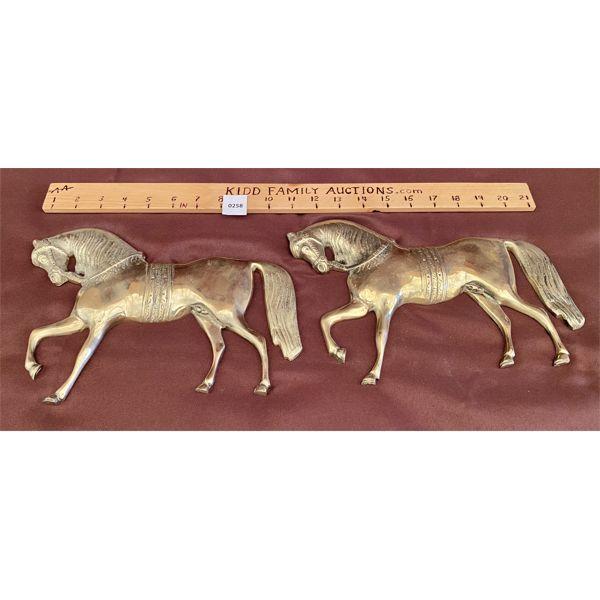 SET OF BRASS HORSES - WALL ART