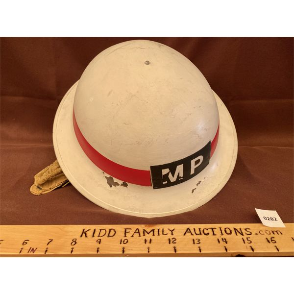 WWII MILITARY POLICE HELMET - MARKED G.S.W D. P. & H