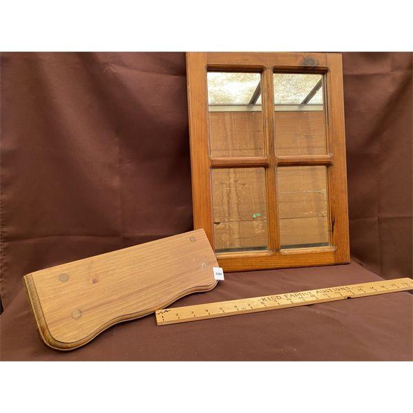 PINE WINDOW STYLE MIRROR & SHELF