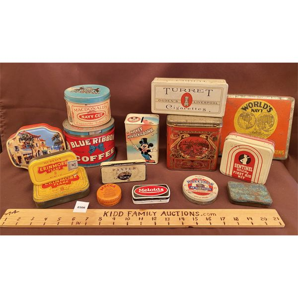 LOT OF COLLECTIBLE TINS - MICKEY MOUSE, BLUE RIBBON COFFEE, ETC