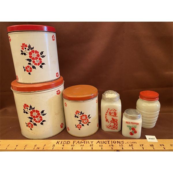 VINTAGE CANISTER SET & SHAKERS
