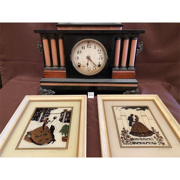 INGRAM MANTLE CLOCK & J. JENSEN ART PIECES