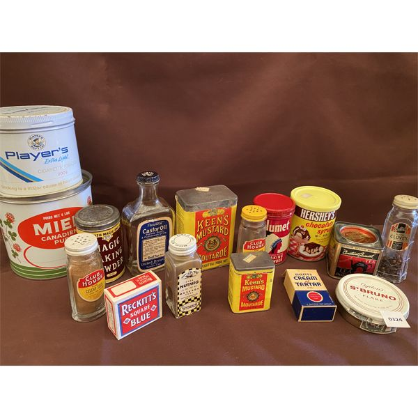 LOT OF COLLECTIBLE TINS & SPICE BOTTLES - SOME W/ CONTENTS