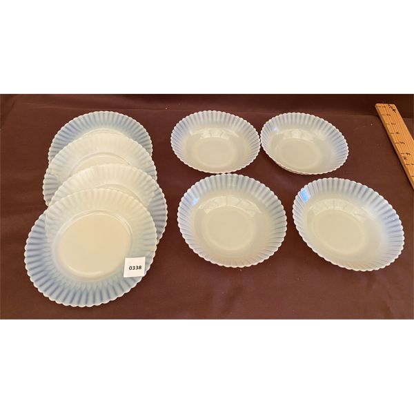 SET OF WHITE CARNIVAL GLASS SIDE PLATES & NAPPIES