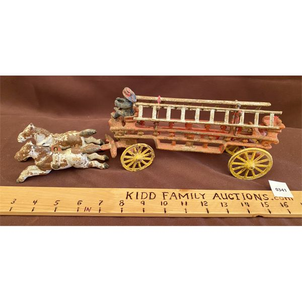 VINTAGE CAST TOY - FIRETRUCK WITH LADDERS & DRIVER
