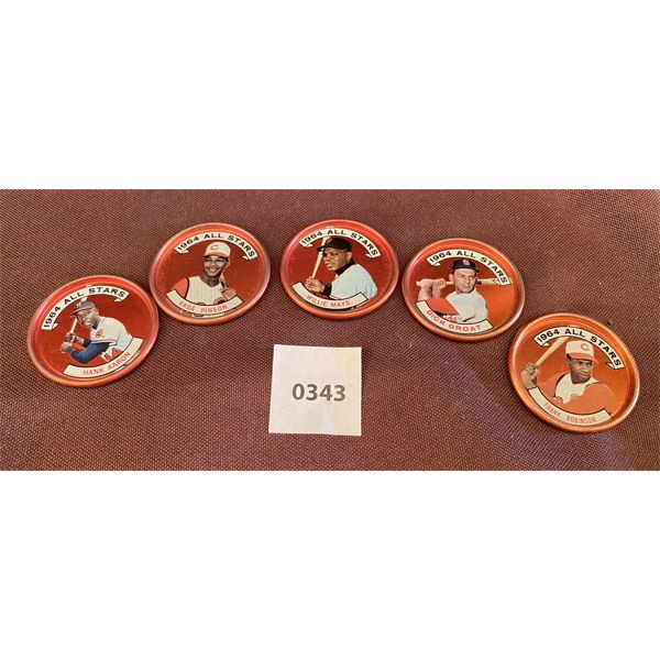 LOT OF 5 JELLO COINS - 1964 ALL STAR BASEBALL PLAYERS - AARON, PINSON, MAYS, GROAT, ROBINSON