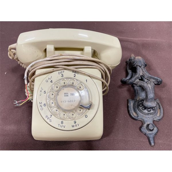 VINTAGE ROTARY PHONE & CAST DOOR KNOCKER
