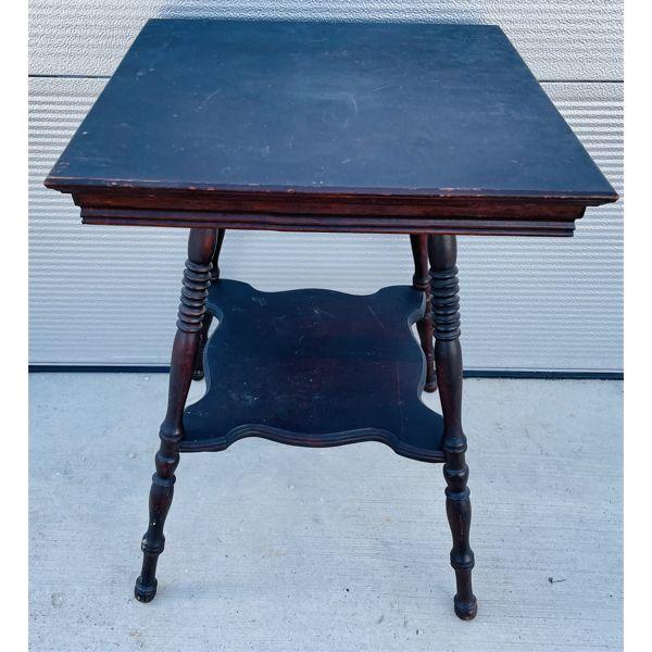 "ANTIQUE PARLOUR TABLE - WALNUT FINISH - 21"" SQUARE"