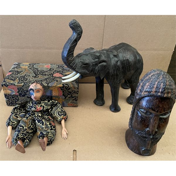 PUPPET, ELEPHANT, CARVED STATUE