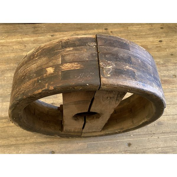 """LARGE 17"""" DIAMETER WOODEN PULLEY"""
